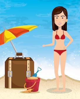 Personaje de mujer en la playa