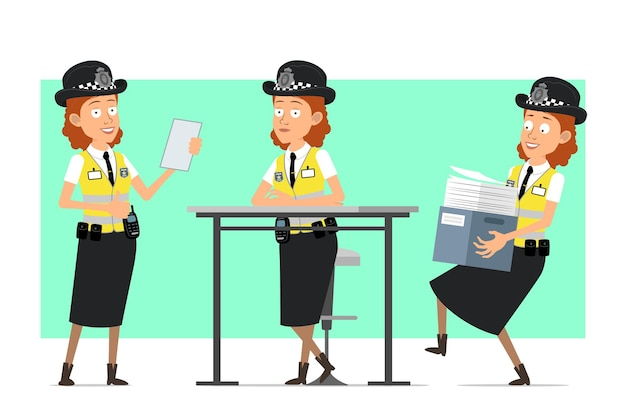 Personaje de mujer policía británica divertida plana de dibujos animados en chaqueta amarilla con placa. chica con caja de papel y nota de lectura.