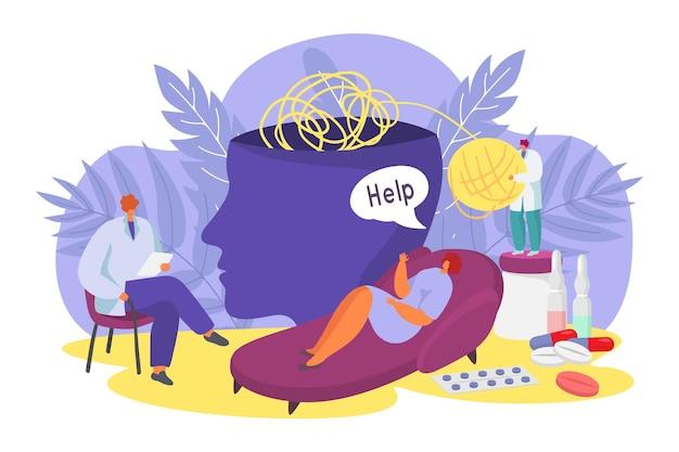 Personaje de mujer problema mundo moderno decir ayuda con enfermedad mental médico psiquiatra vector plano il ...