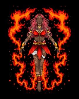 Personaje de mujer de tribu hechicero de fuego