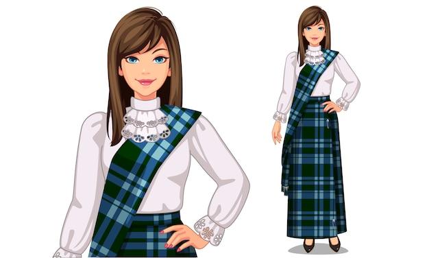 Personaje de las mujeres escocesas con traje tradicional.