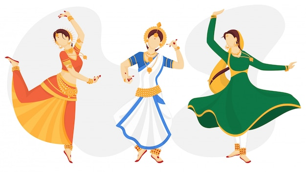 Personaje de mujeres indias sin rostro en pose de baile tradicional.