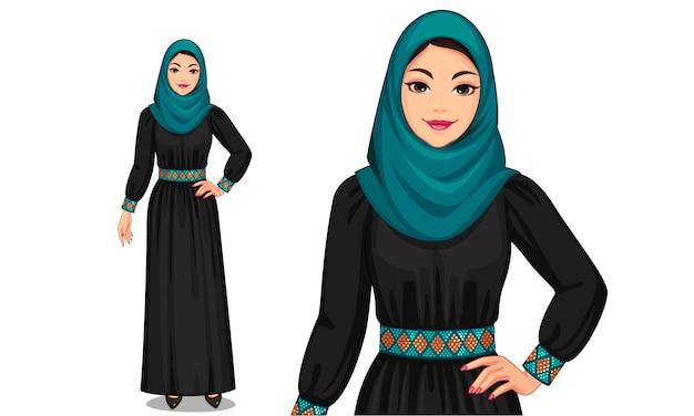 Personaje de las mujeres musulmanas en traje tradicional.