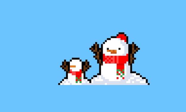 Personaje de muñeco de nieve de dibujos animados de pixel art con mini muñeco de nieve