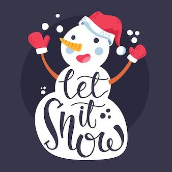 Personaje de muñeco de nieve de navidad con letras