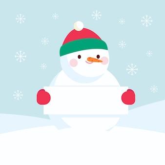 Personaje de muñeco de nieve sosteniendo pancarta vacía