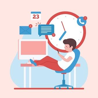 Personaje navegando por internet en lugar de trabajar