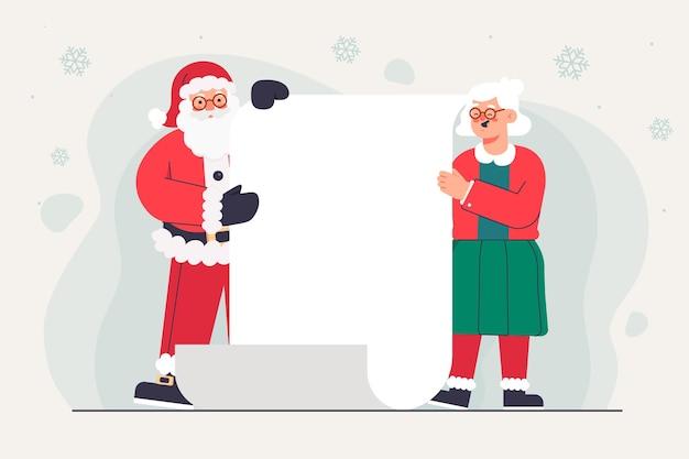 Personaje de navidad con banner en blanco
