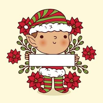 Personaje de navidad sosteniendo pancarta en blanco