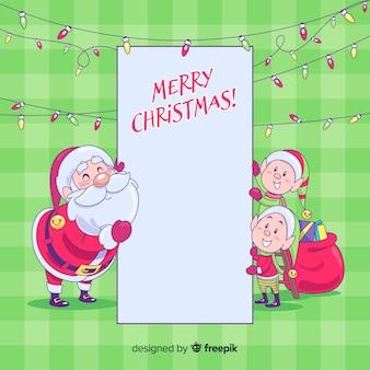 Personaje de navidad con una tarjeta blanca en diseño plano