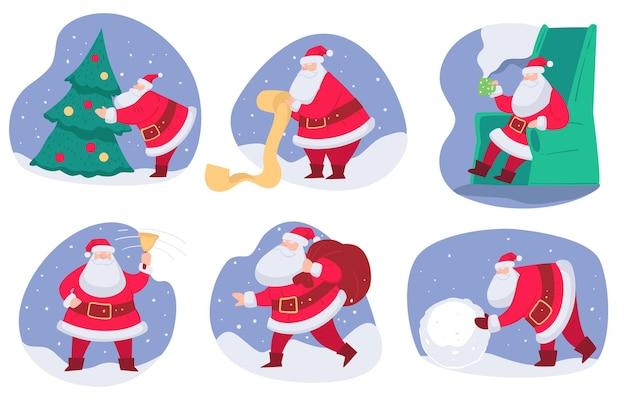 Personaje navideño preparándose para navidad.