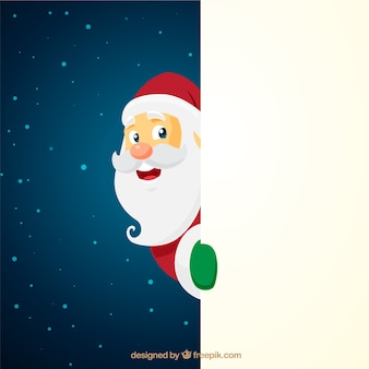 Personaje navideño de santa claus con cartel en blanco