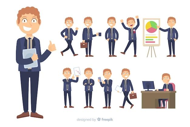 Personaje de negocios en diferentes posturas
