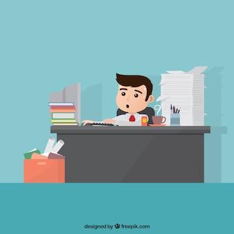 Personaje de negocios ocupado