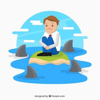 Personaje de negocios rodeado de tiburones