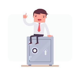 Personaje de negocios sentado sobre una caja fuerte