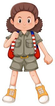 Un personaje de niña acampada