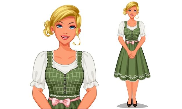 Personaje de niña alemana en traje tradicional.