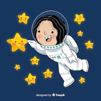 Personaje de niña astronauta adorable dibujado a mano