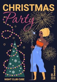 Personaje niña cantando, volante de fiesta de navidad