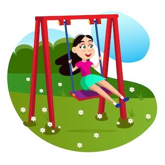 Personaje de niña de dibujos animados en columpio en el patio de recreo
