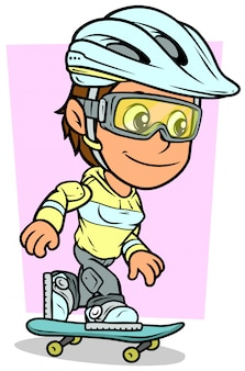 Personaje de niña de dibujos animados montando en patineta