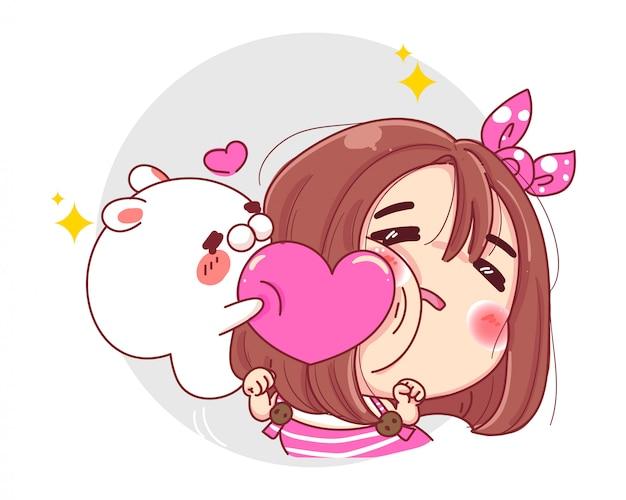 Personaje de niña divertida y conejo blanco jugando con corazón rosa aislado sobre fondo blanco.