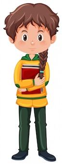 Un personaje de niña estudiante