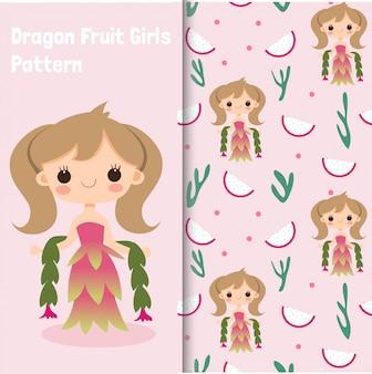 Personaje de niña de frutas dragón y patrones sin fisuras