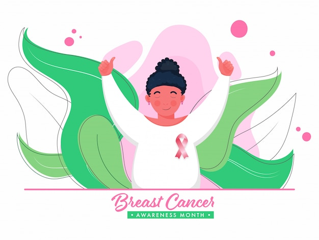 Personaje de niña mostrando los pulgares para arriba con cinta rosa en el pecho y hojas verdes sobre fondo blanco para el mes de concientización sobre el cáncer de mama.