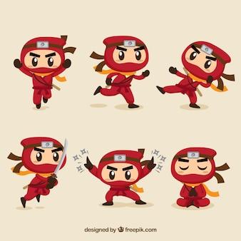 Personaje de ninja adorable en distintas posturas con diseño plano