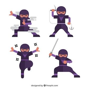 Personaje de ninja de dibujos animados en distintas posturas