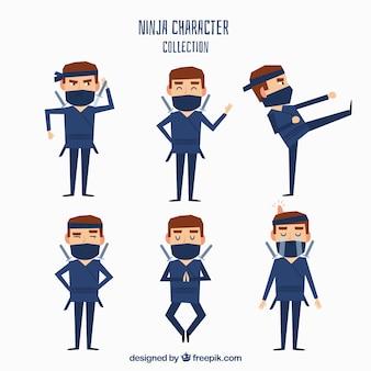 Personaje de ninja con diseño plano en posturas diferentes