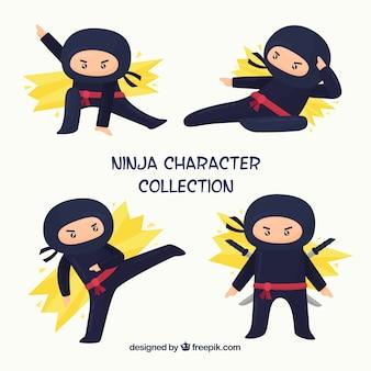 Personaje de ninja en distintas posturas con diseño plano