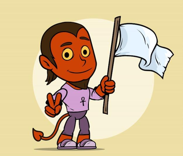Personaje de niño de diablo rojo de dibujos animados con bandera blanca