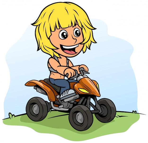 Personaje de niño de dibujos animados conduciendo moto quad