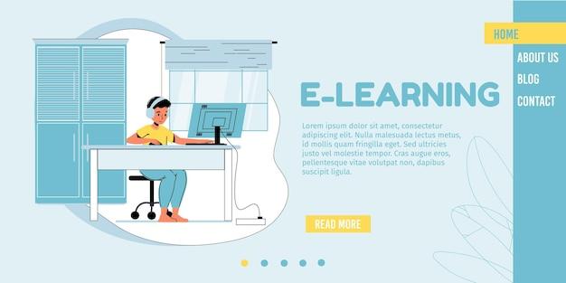 Personaje de niño de dibujos animados se sienta en el escritorio de la computadora viendo lecciones en video, estudiando