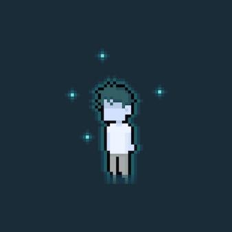 Personaje de niño fantasma lindo de dibujos animados de pixel art