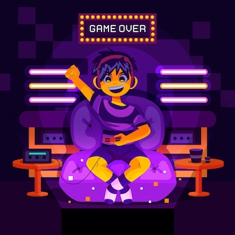Personaje de niño ilustrado jugando videojuegos