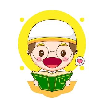 Personaje de niño lindo leyendo el corán