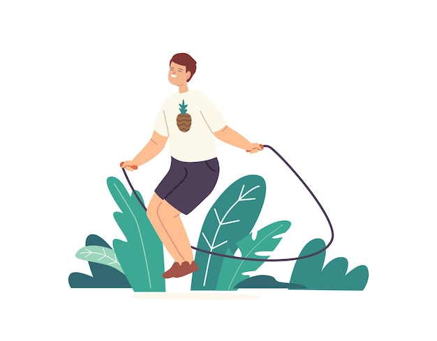 Personaje de niño pequeño haciendo ejercicio con saltar la cuerda. niño jugando en la calle, saltando y regocijándose en el horario de verano. vida sana, actividades al aire libre para niños y tiempo libre activo. ilustración vectorial de dibujos animados