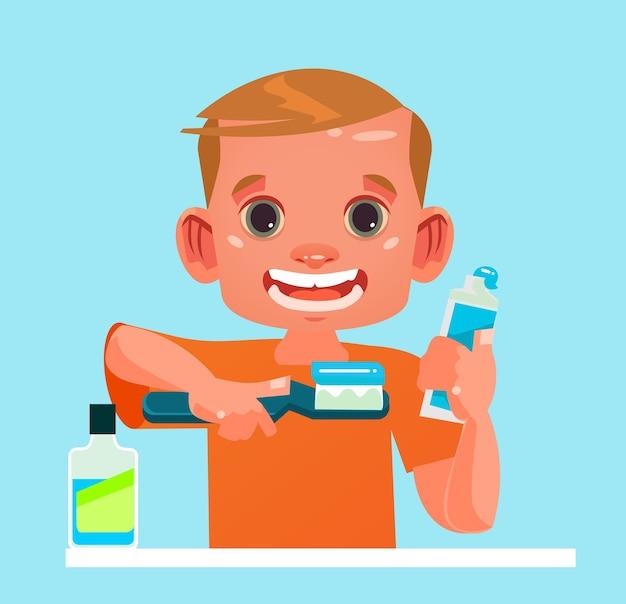 Personaje de niño pequeño limpiando los dientes con cepillo de dientes
