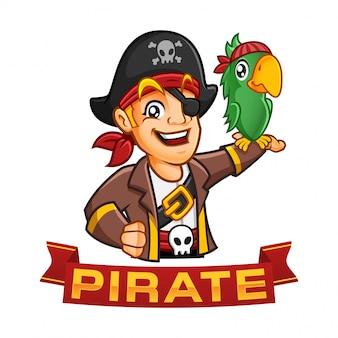 Personaje de niño pirata o mascota de dibujos animados con un loro en su brazo, divertida ilustración