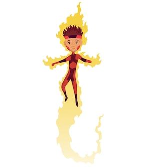 Personaje de niño superhéroe de dibujos animados.