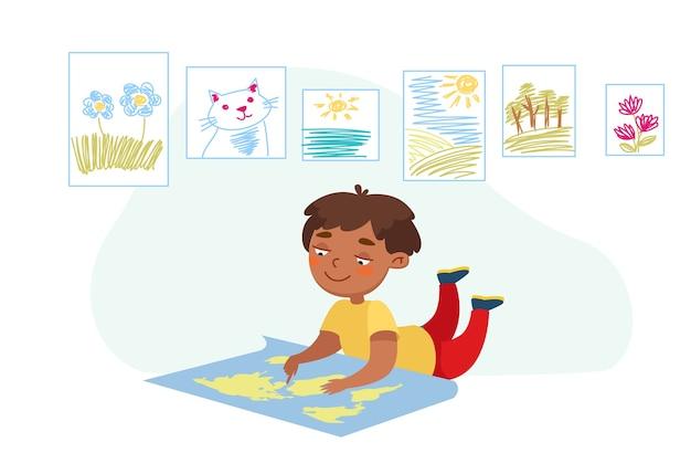 Personaje de niño tendido en el suelo con mapa del mundo