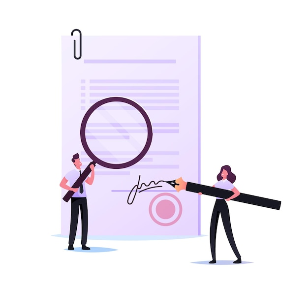 Personaje de notario o abogado de mujer diminuta que firma un documento en papel con un bolígrafo enorme