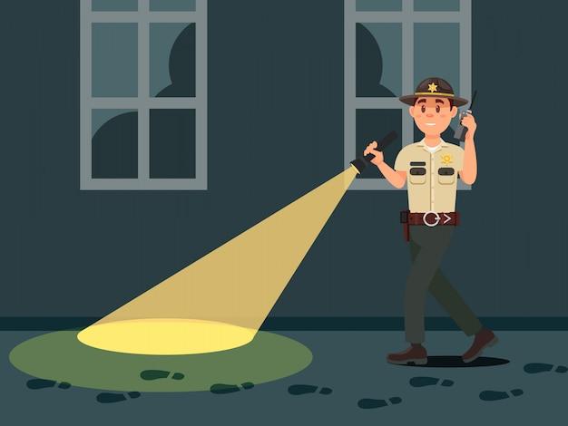 Personaje de oficial de policía sheriff masculino de ciudad en uniforme oficial con linterna buscando en la oscuridad ilustración