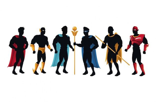 Personaje oscuro grupo de superhéroes equipo poderoso