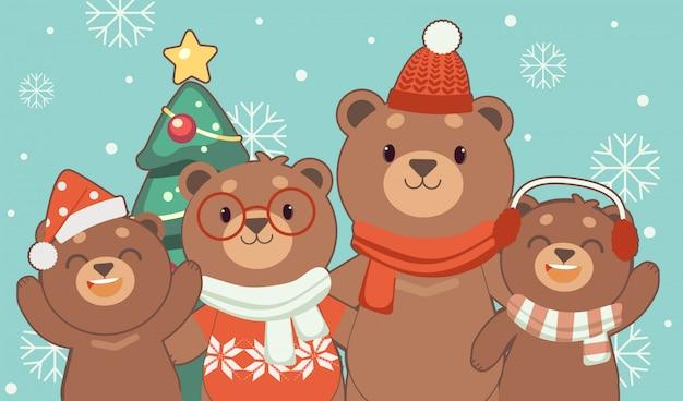 El personaje del oso lindo y la familia de pie y holdind mano en el azul.