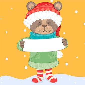 Personaje de oso de navidad con banner en blanco